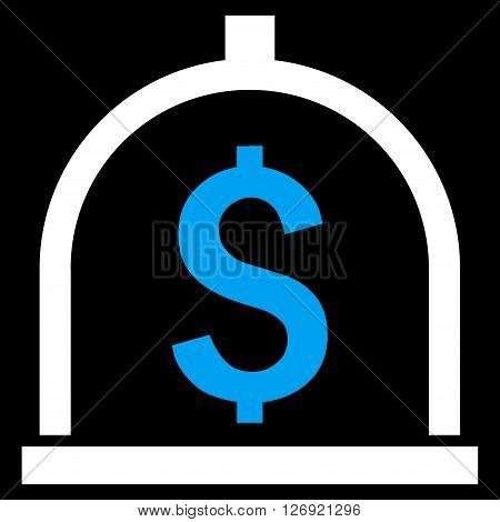 Dollar Deposit vector icon. Style is bicolor flat symbol, blue and white colors, black background.