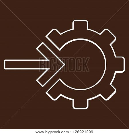 Integration Arrow vector icon. Style is stroke icon symbol, white color, brown background.