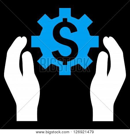 Financial Insurance Options vector icon. Style is bicolor flat symbol, blue and white colors, black background.