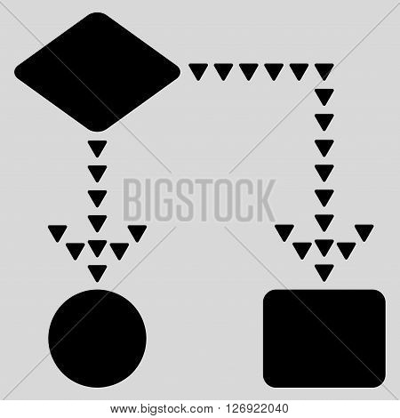 Algorithm Flowchart vector icon. Algorithm Flowchart icon symbol. Algorithm Flowchart icon image. Algorithm Flowchart icon picture. Algorithm Flowchart pictogram. Flat black algorithm flowchart icon.