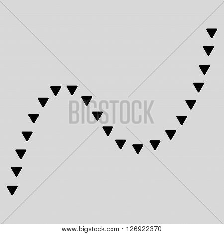 Dotted Curve vector icon. Dotted Curve icon symbol. Dotted Curve icon image. Dotted Curve icon picture. Dotted Curve pictogram. Flat black dotted curve icon. Isolated dotted curve icon graphic.