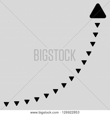 Dotted Growth Line vector icon. Dotted Growth Line icon symbol. Dotted Growth Line icon image. Dotted Growth Line icon picture. Dotted Growth Line pictogram. Flat black dotted growth line icon.