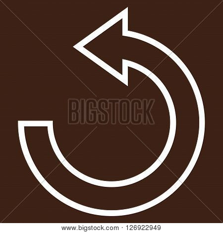 Rotate Ccw vector icon. Style is thin line icon symbol, white color, brown background.