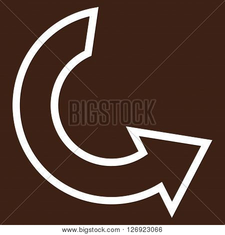Rotate Ccw vector icon. Style is contour icon symbol, white color, brown background.