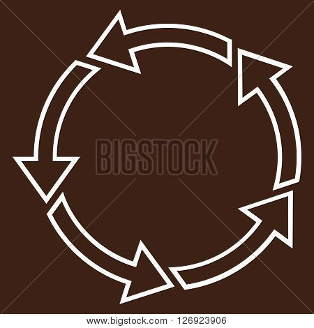 Rotation Ccw vector icon. Style is contour icon symbol, white color, brown background.