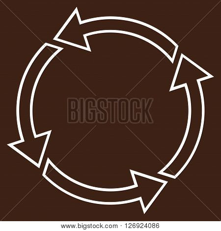 Rotation Ccw vector icon. Style is stroke icon symbol, white color, brown background.