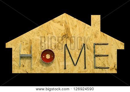 Silhouette of a suburbian house with mounting materials at OSB sheet. Isolated objects on a black background.