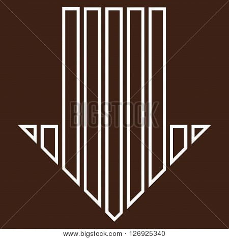 Stripe Arrow Down vector icon. Style is thin line icon symbol, white color, brown background.