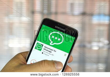 MONTREAL CANADA - APRIL 5 2016 : Messenger for Whatsapp on Samsung S5.. WhatsApp Messenger is a FREE messaging app available for Android and other smartphones.
