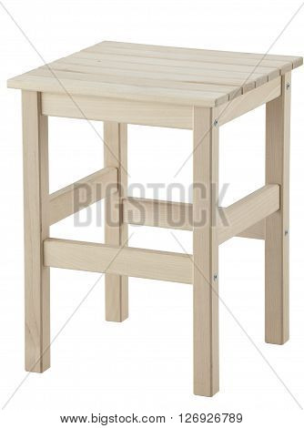 Side view of wooden stool isolated on white background. Include clipping path.