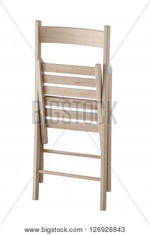 Side view of folding wooden chair isolated on white background. In the folded position. Include path.