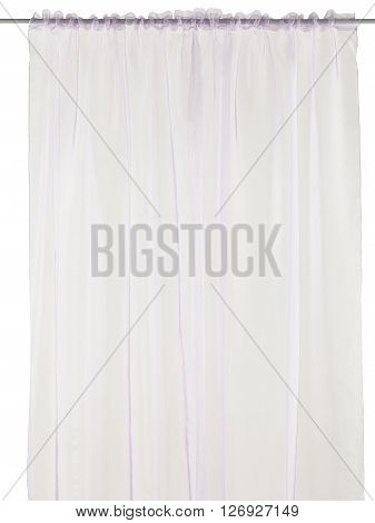 Classic translucent pink curtain. Isolated on white background. Include path.