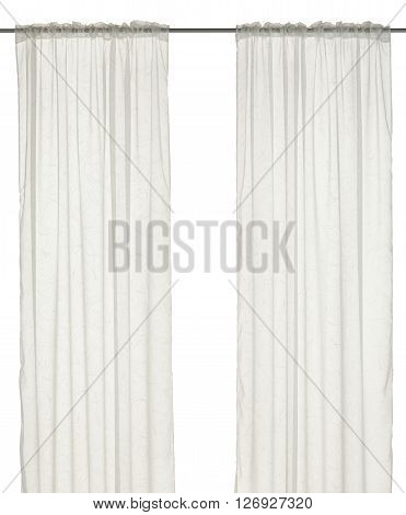 Classic translucent white curtain with floral pattern. Isolated on white background. Include path.