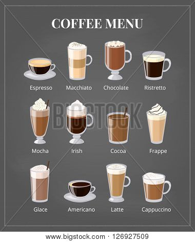 Coffee menu on chalkboard. Different coffee types including espresso, macchiato, chocolate, ristretto, mocha, irish, cocoa, frappe, glace, americano, latte, cappuccino. Foam coffee in glass with names