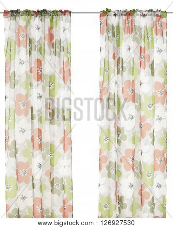 Classic translucent curtains with floral pattern. Isolated on white background. Include path.