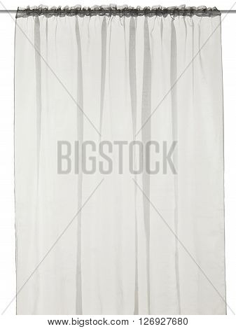 Classic translucent grey curtain. Isolated on white background. Include path.