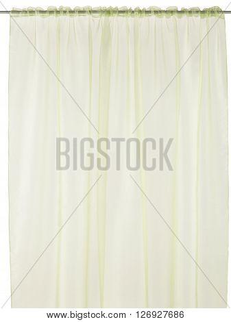 Classic translucent lime curtain. Isolated on white background. Include path.