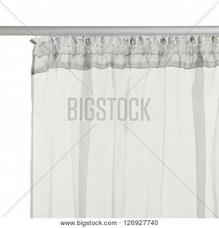 Fragment of the grey translucent curtain with mount. Back view. Isolated on white background. Include path.