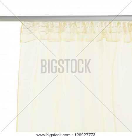 Fragment of the light brown translucent organza curtain with mount. Back view. Isolated on white background. Include path.
