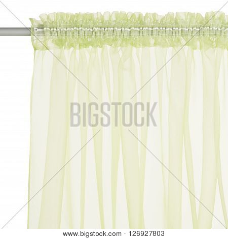 Fragment of the light green translucent organza curtain with mount. Back view. Isolated on white background. Include path.