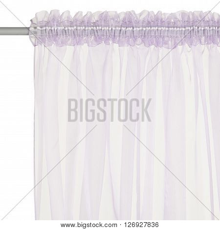 Fragment of the light pink translucent organza curtain with mount. Back view. Isolated on white background. Include path.