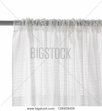 Fragment of the translucent organza curtain with mount. Abstract geometric pattern. Back view. Isolated on white background. Include path.