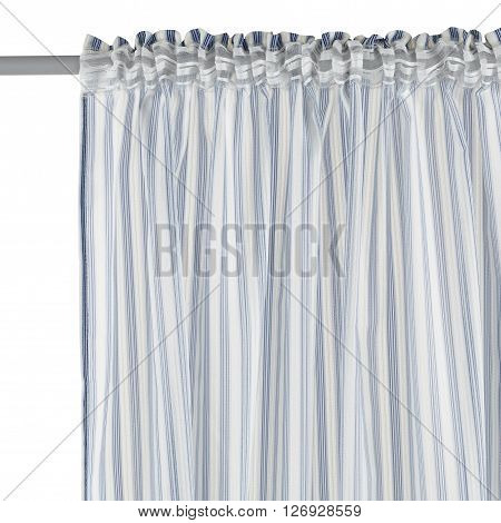 Fragment of the translucent organza curtain with mount. Blue abstract geometric pattern. Back view. Isolated on white background. Include path.