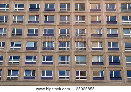typical east german apartement buildings in berlin