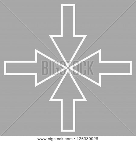 Compact Arrows vector icon. Style is thin line icon symbol, white color, silver background.
