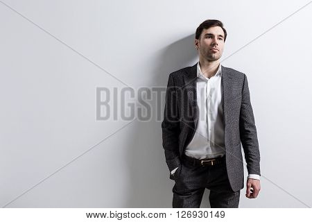 Businessman Empty Wall