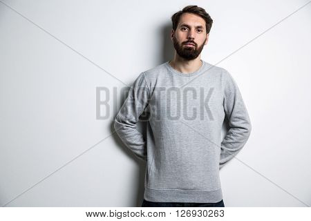 Young Bearded Man Grey Shirt