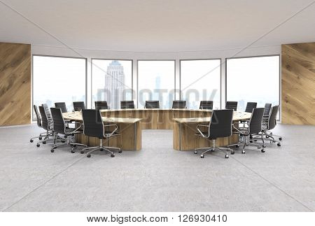 Conference room interior design with circular wooden table swivel chairs and New York city view. 3D Rendering