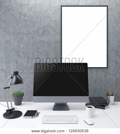 Frontview of concrete workplace with blank frame and computer monitor. Mock up 3D Rendering
