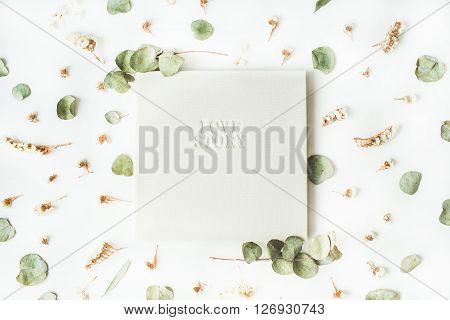 white wedding or family photo album with words