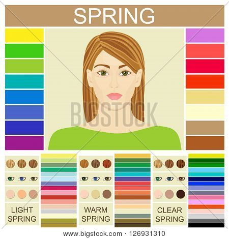 Stock vector set of three spring types of female appearance. Face of young woman. Seasonal color analysis palette for light, warm and clear spring