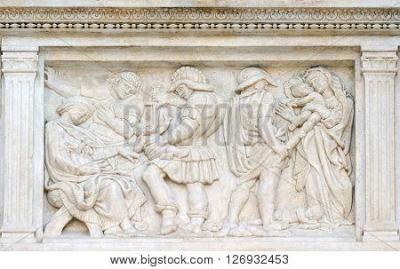 BOLOGNA, ITALY - JUNE 04: The Innocent massacre, relief on portal of Saint Petronius Basilica in Bologna, Italy, on June 04, 2015