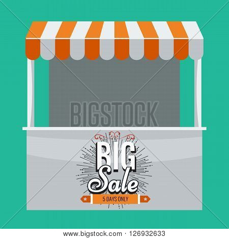 Store vector. Illustrated Store with awning and big sale on it. Store booth with flat color design. Stand booth with orange awning.