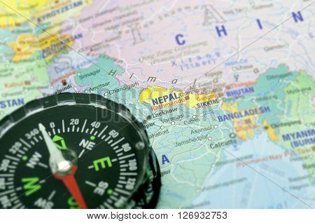 Maps and Compass Kathmandu Travel destination - Holiday concept