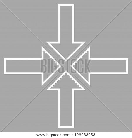 Meeting Point vector icon. Style is outline icon symbol, white color, silver background.