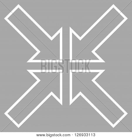Meeting Point vector icon. Style is stroke icon symbol, white color, silver background.