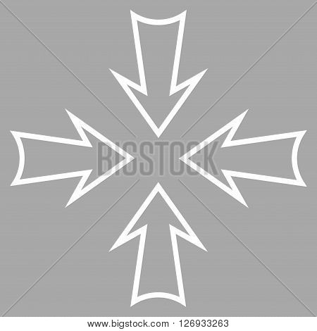 Minimize Arrows vector icon. Style is thin line icon symbol, white color, silver background.