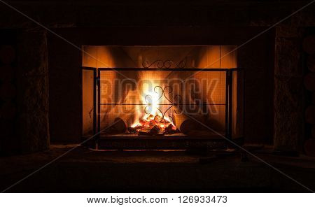 Fireplace with protective screen in winter season