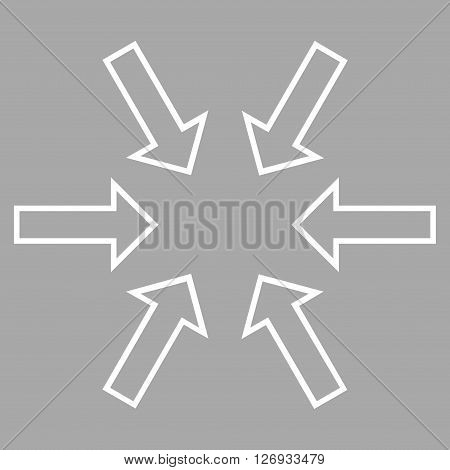 Pressure Arrows vector icon. Style is stroke icon symbol, white color, silver background.