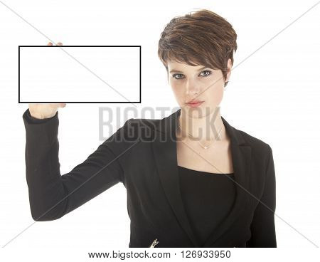 Young businesswoman holding blank card isolated on white background