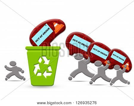 Out of order brain recycling processing with man holding out of order brain into the recycle bin