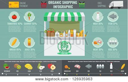 Supermarket organic shopping infographic concept. Market booth, vegetables, fruits and other foods with flat vector.  Store Awning and goods on shelf. Display mock up.