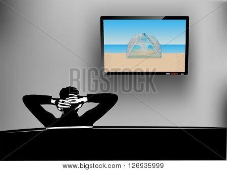 watching tv. man watching television at home