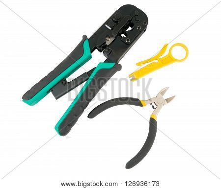Crimper and wire cutter isolated on a white background
