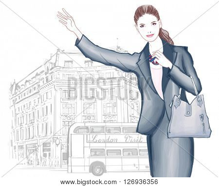 Young woman calling taxi in London - vector illustration