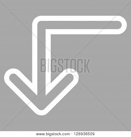 Turn Down vector icon. Style is stroke icon symbol, white color, silver background.